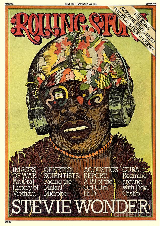 Stevie Wonder Photograph - Rolling Stone Cover - Volume #189 - 6/19/1975 - Stevie Wonder by Milton Glaser