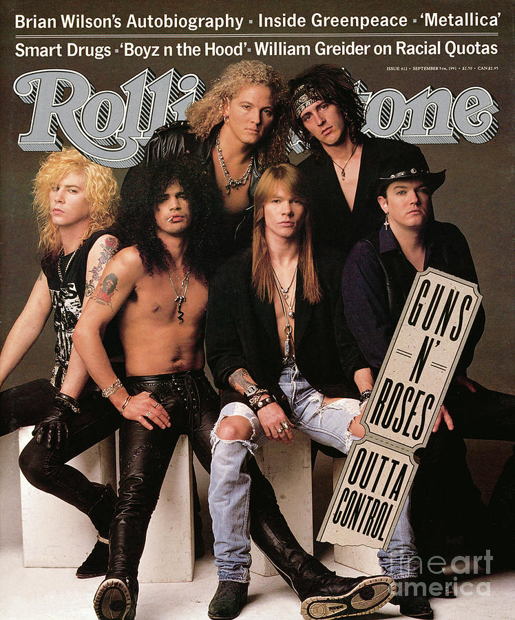 Rolling Stone Photograph - Rolling Stone Cover - Volume #612 - 9/5/1991 - Guns n Roses by Herb Ritts
