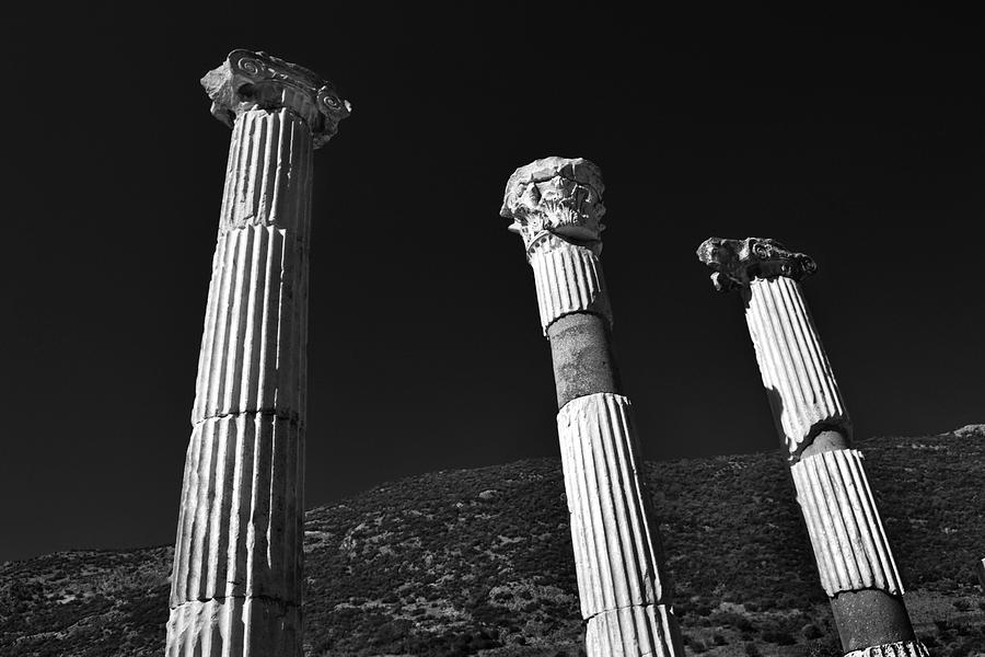Black And White Photograph - Roman Columns. by Terence Davis