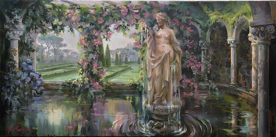 Roman Garden Painting By Alla Yashina