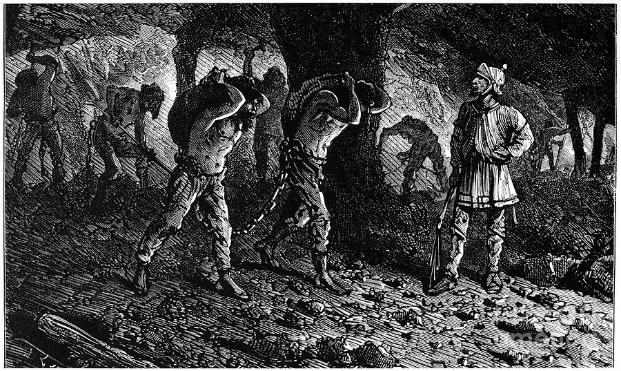 Ancient Photograph - Roman Slavery: Coal Mine by Granger