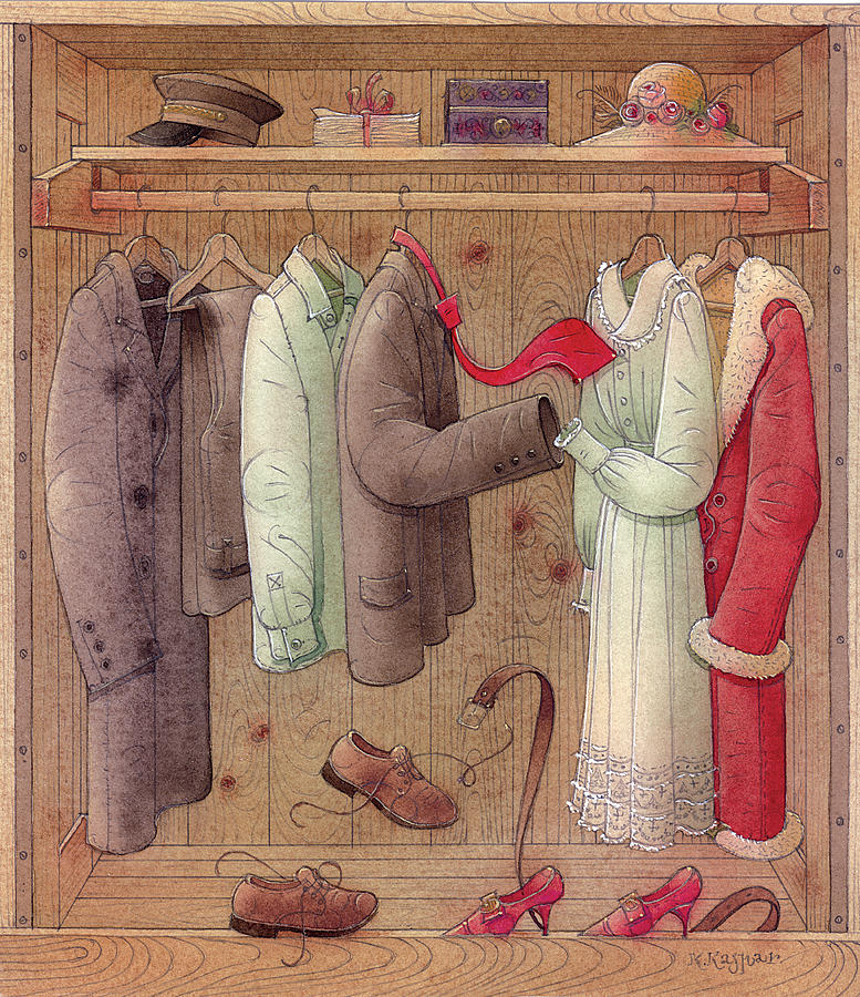 Romance In The Cupboard Painting by Kestutis Kasparavicius
