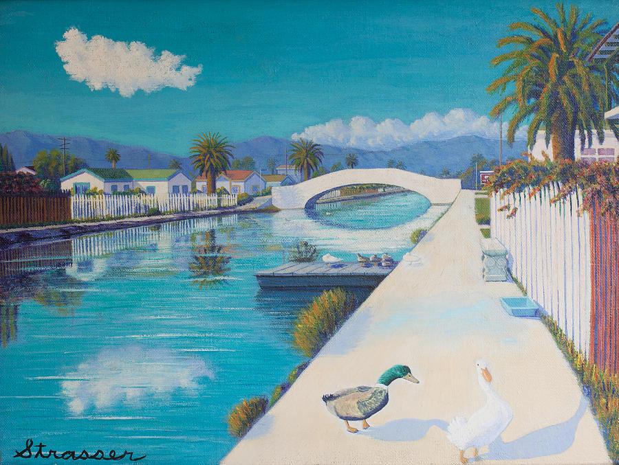Venice Canals Painting - Romance On Retro Canal by Frank Strasser