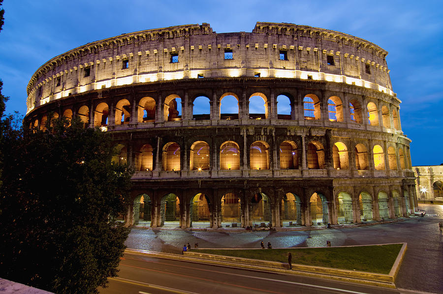 Italy Photograph - Rome Colosseum Dusk by Axiom Photographic