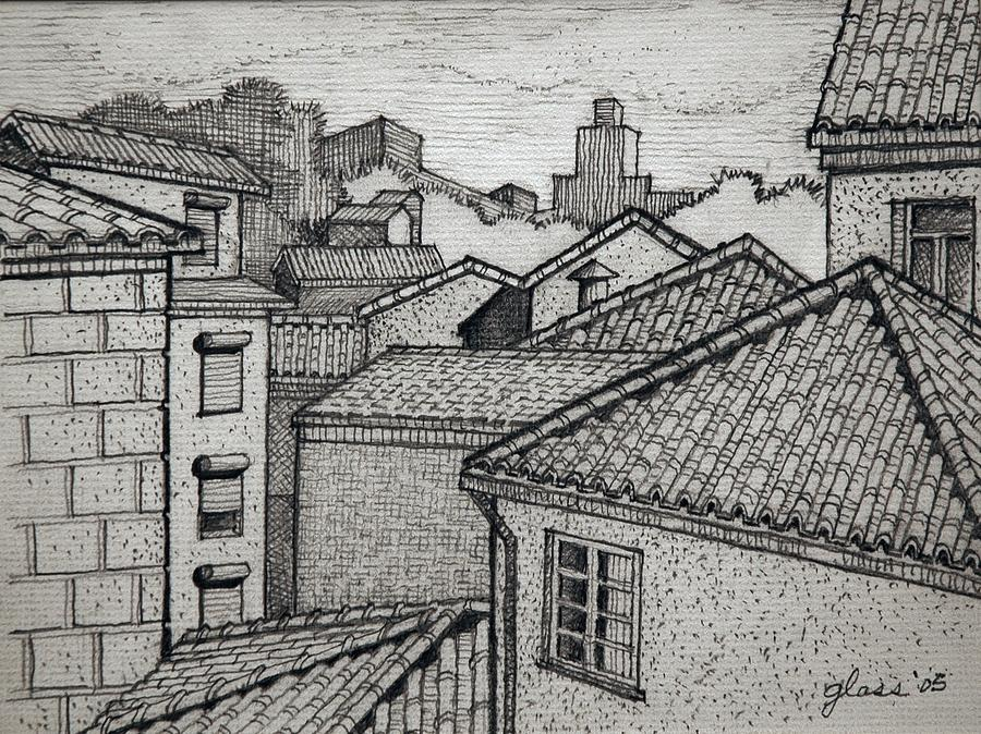 Rooftops Drawing By Lester Glass