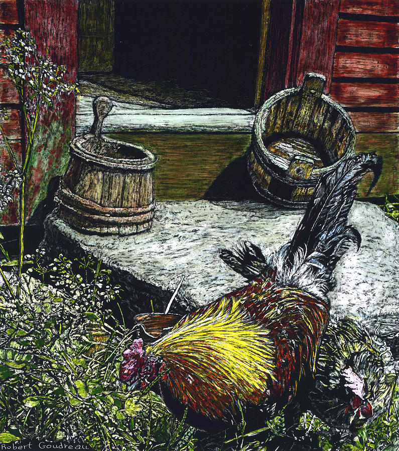 Rooster Painting - Rooster And A Hen by Robert Goudreau