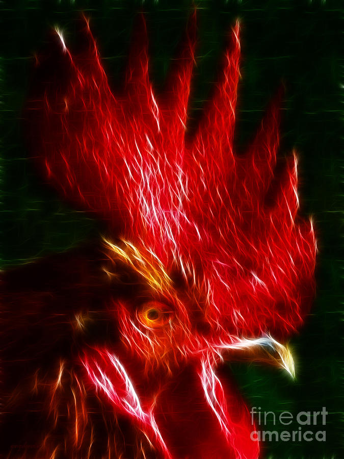 Bird Photograph - Rooster - Electric by Wingsdomain Art and Photography