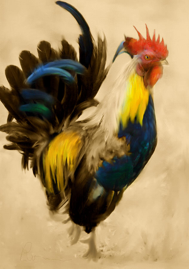 Rooster Painting - Rooster On The Prowl 2 - Vintage Tonal by Georgiana Romanovna