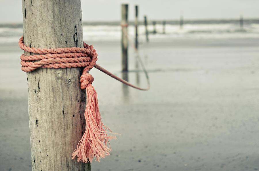 Horizontal Photograph - Rope In Wind On Coast Of  German Island Norderney by Jakob Tertel