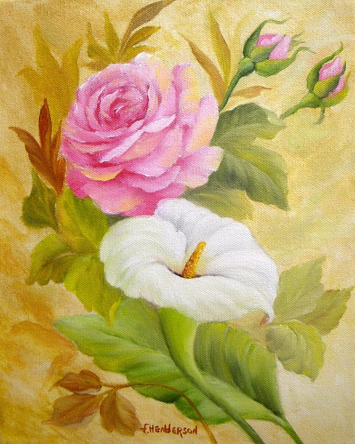 Rose Painting - Rose And Calla Lily by Francine Henderson