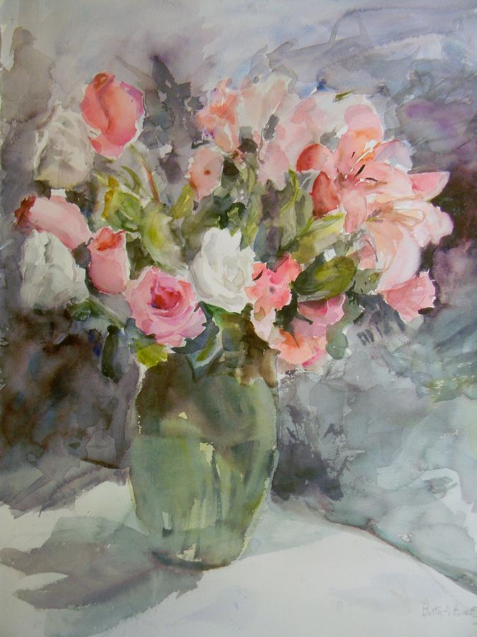 Still Life Painting - Rose And Lily Bouquet by Betty J Bee