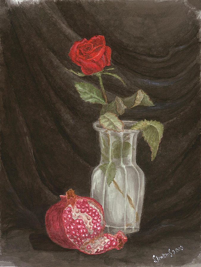 Rose and Pomegranate by Svetlana  Jenkins