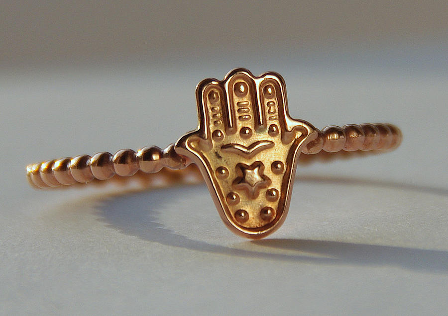 Rose Gold Filled Hamsa Jewelry - Rose Gold Filled Hamsa Khamsa Miriam Hand Stack Ring Hamsa Stackable Ring Good Luck Ring Judaica by Nadina Giurgiu