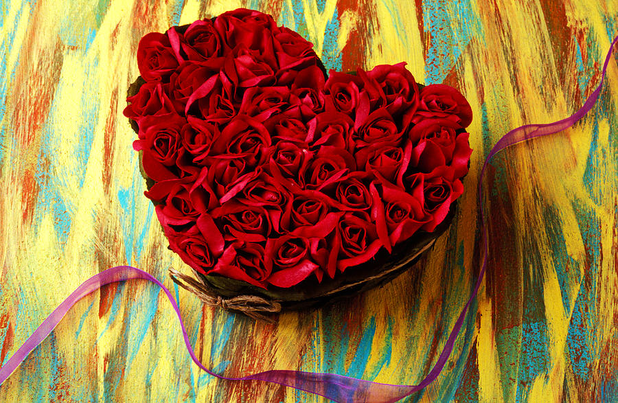 Red Photograph - Rose Heart And Ribbon by Garry Gay