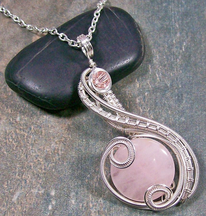 Wire Jewelry - Rose Quartz And Silver Coriolis Pendant by Heather Jordan