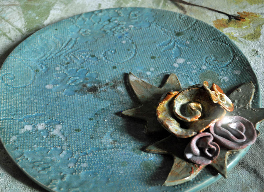 Lace Ceramic Art - Rose To The Occassion by Amanda  Sanford