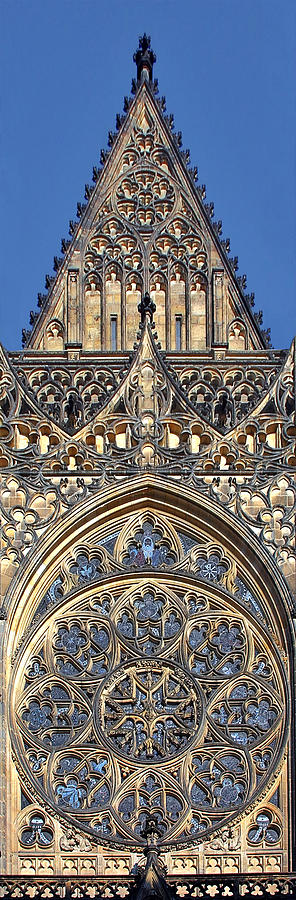 Rosette Photograph - Rose Window - Exterior Of St Vitus Cathedral Prague Castle by Christine Till