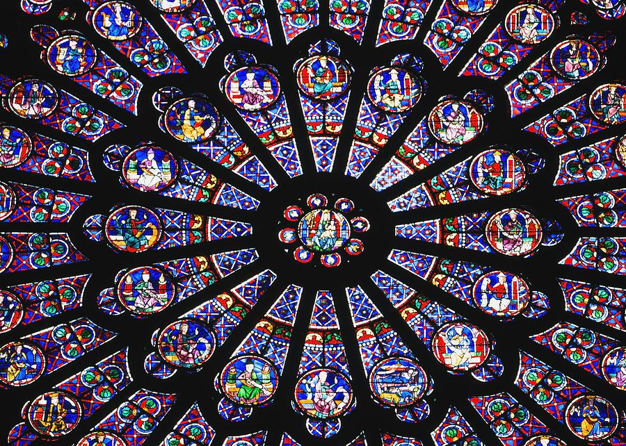Cathedral Photograph - Rose Window In The Notre Dame Cathedral by Axiom Photographic