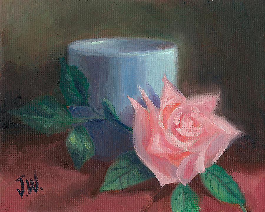 Floral Painting - Rose With Blue Cup by Joe Winkler