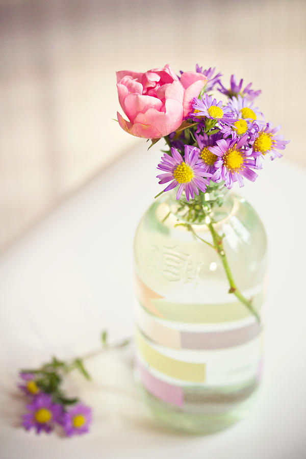 Vertical Photograph - Roses And Aster In Glass Bottle by Helena Schaeder Söderberg