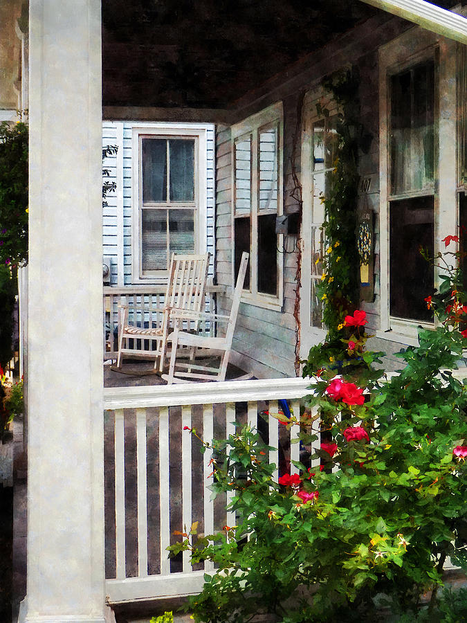 Rocking Chair Photograph - Roses And Rocking Chairs by Susan Savad