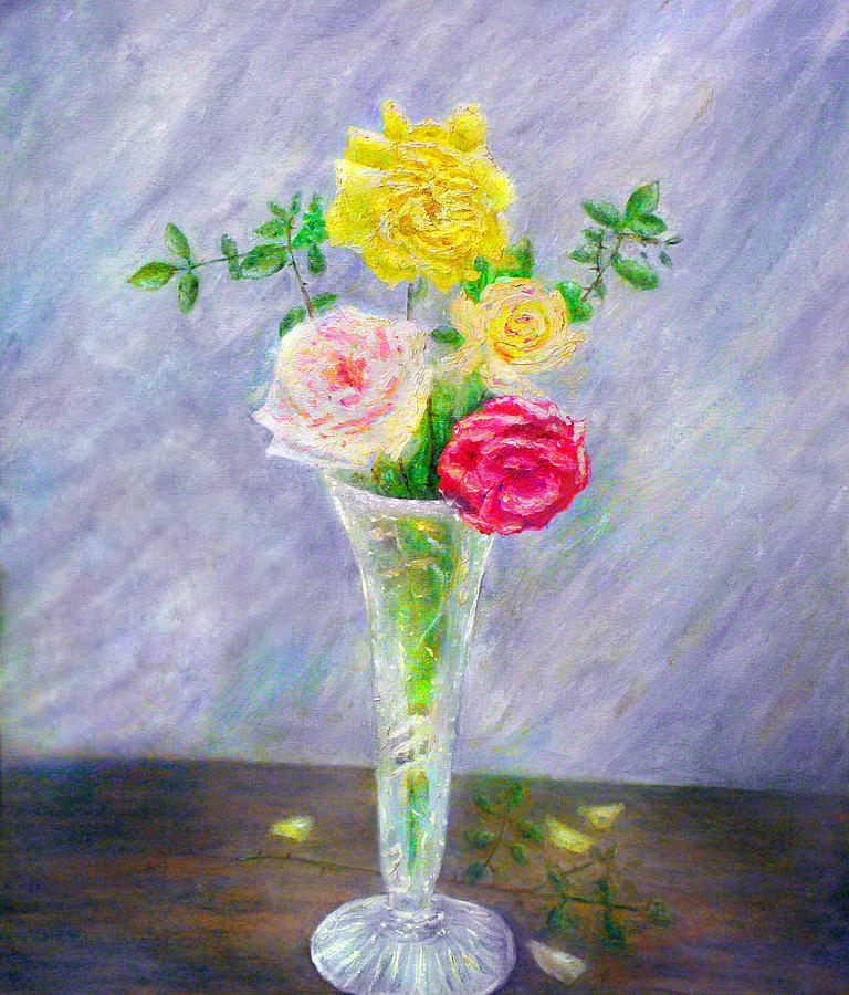 Roses Painting - Roses In A Vase by Ronald Haber