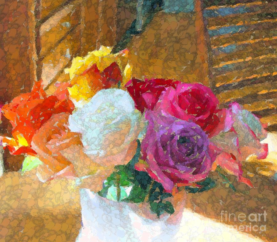 Roses on the table Digital Art by Annie Gibbons