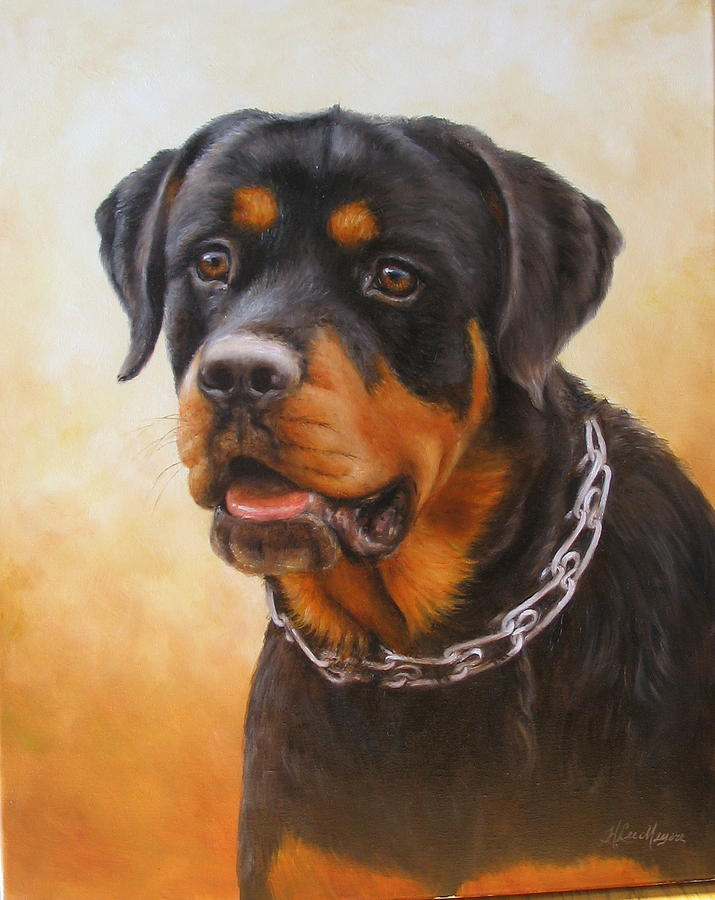 Dog Painting - Rottweiler by Helen Lee Meyers