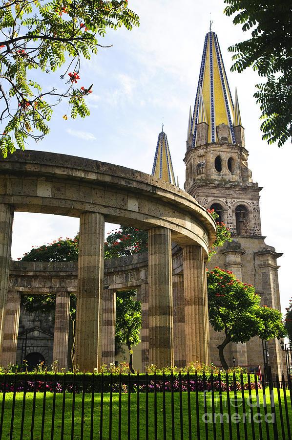 Rotunda Photograph - Rotunda Of Illustrious Jalisciences And Guadalajara Cathedral by Elena Elisseeva