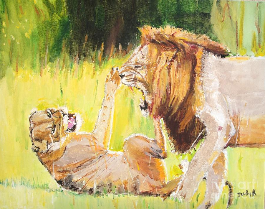Lion Painting - Rough Play by Judy Kay
