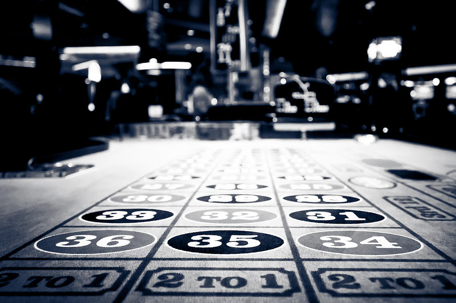 Roulette table in black and white photograph by anthony doudt for Table tv a roulettes