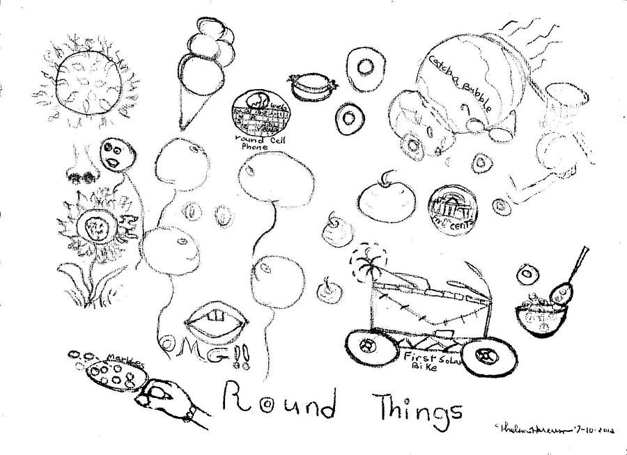 Round Things Abstracts And Symbols Drawing Drawing By Thelma Harcum