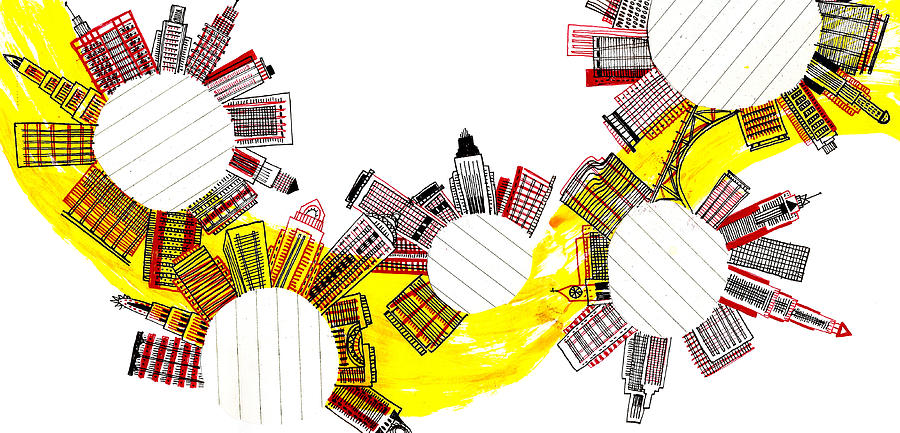 Horizontal Digital Art - Rounded Cities by Catarina Bessell