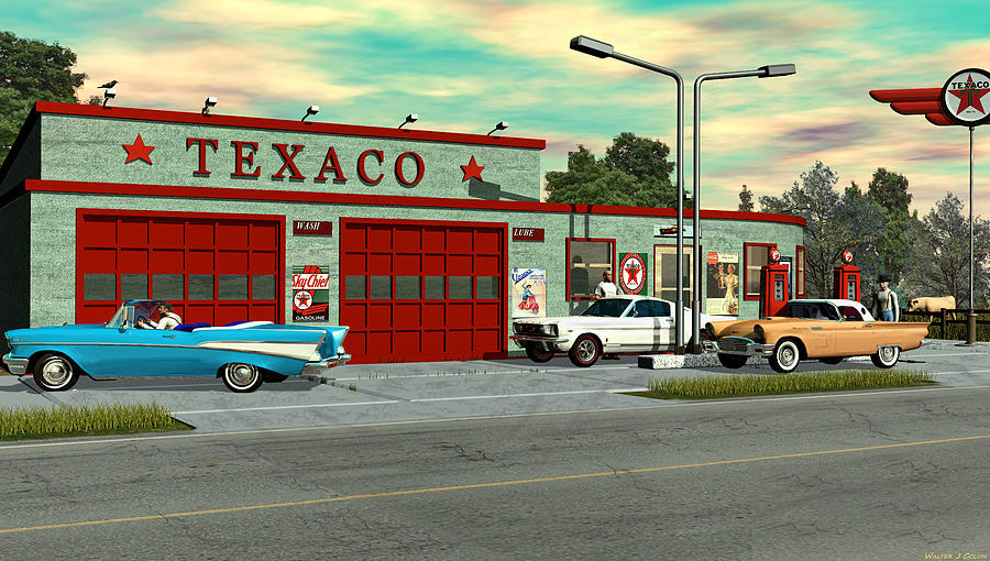 Route 66 1960 Texaco Gas Station Digital Art By Walter Colvin