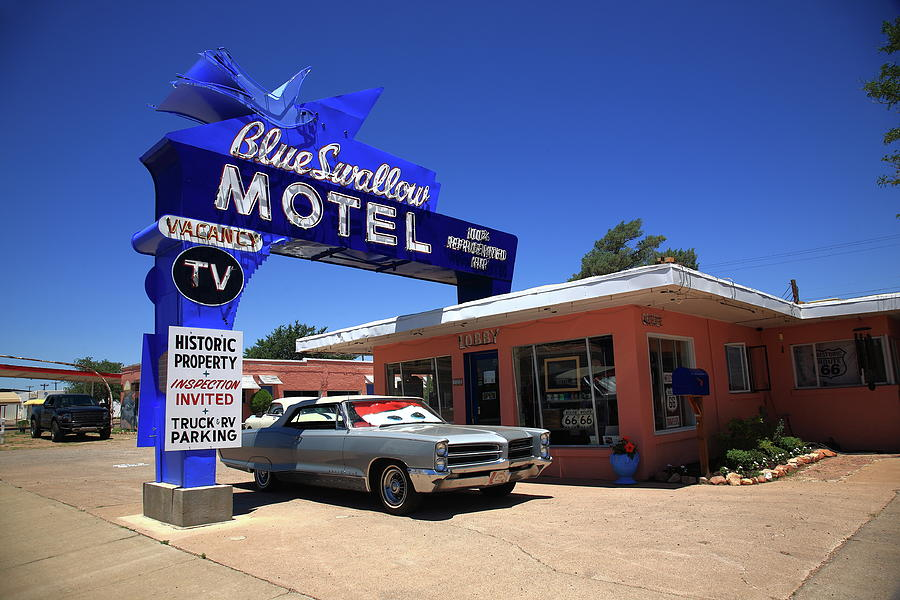 Route 66 - Blue Swallow Motel Photograph by Frank Romeo