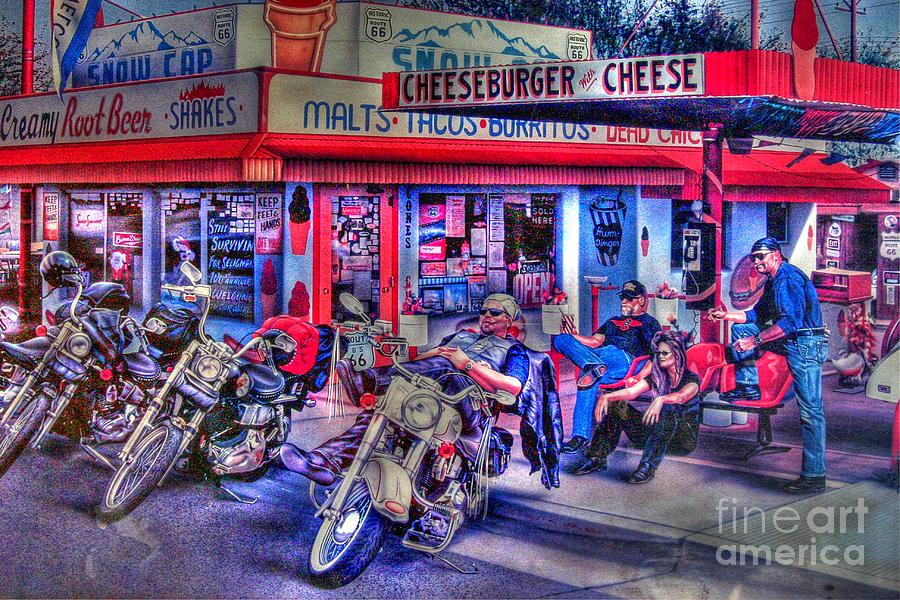 Route 66 Photograph - Route 66 Motorcycle Wall Art by Tommy Anderson