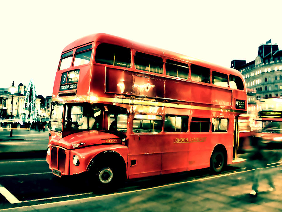 Old Bus Photograph - Routemaster Retro Pop Art  by Jasna Buncic