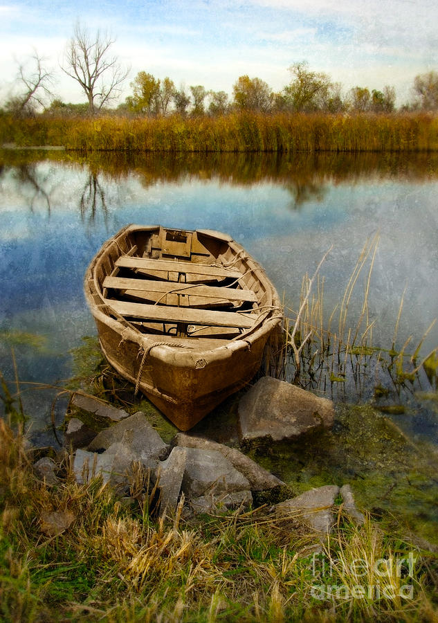 Row Boat At Edge Of River Photograph by Jill Battaglia