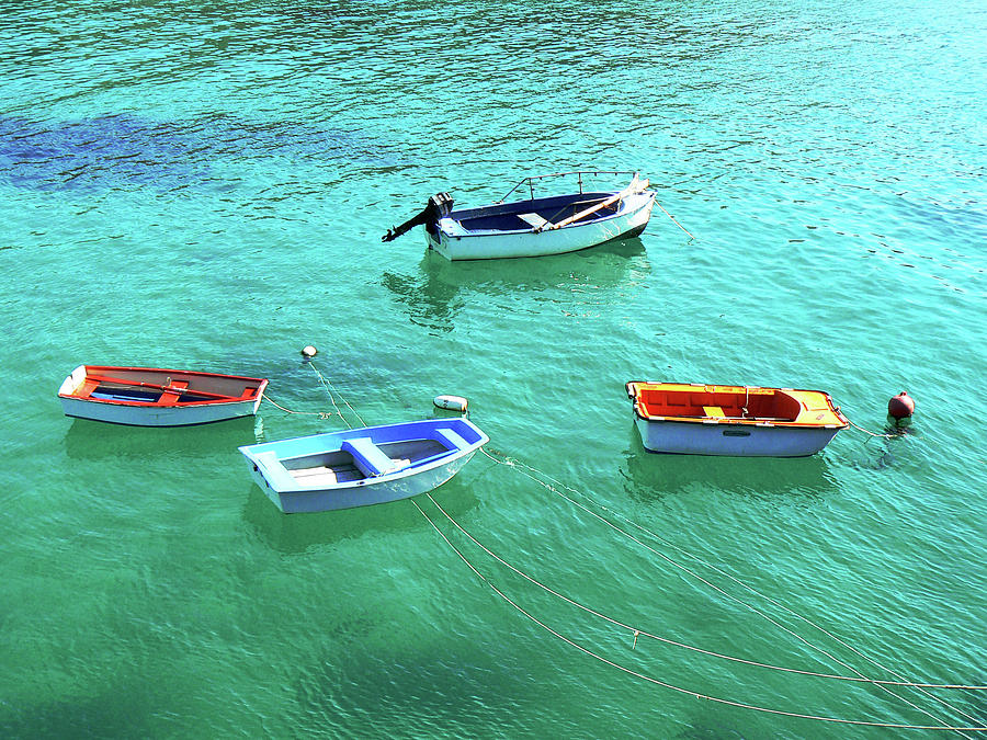 Horizontal Photograph - Row Boats On Turquoise Water by Leniners