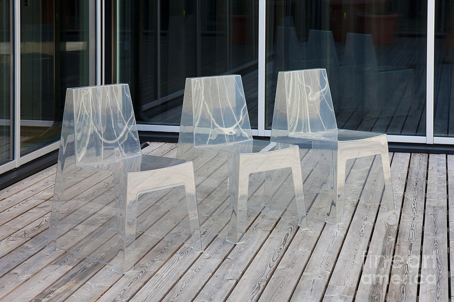 3 Photograph - Row Of Modern Translucent Chairs by Jaak Nilson