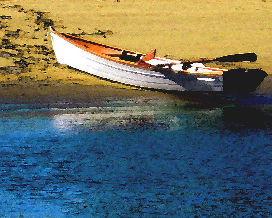 Rowboat Digital Art - Rowboat At Mothers Beach by Timothy Bulone