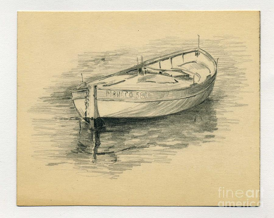 Very Rowing Boat Drawing by John Chatterley FO12