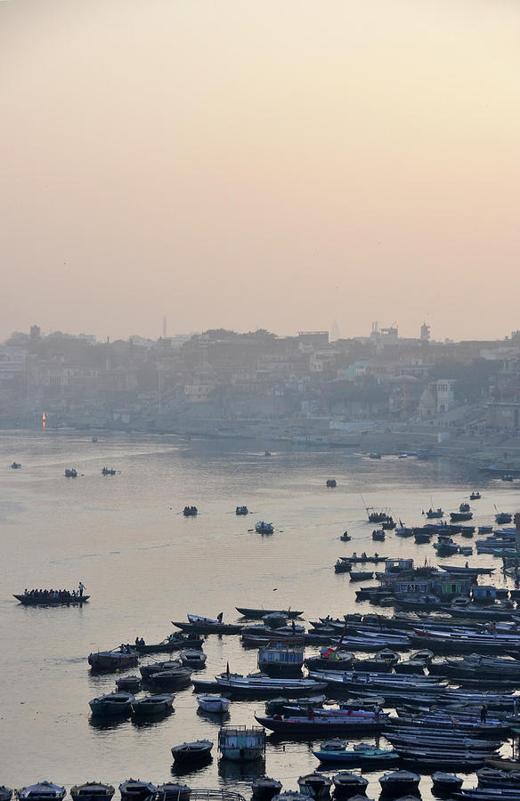 Vertical Photograph - Rowing Boats On Ganges River by Jessica Solomatenko