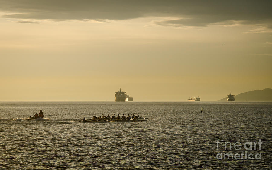 Rowing Photograph - Rowing Training Off Sunset Beach Park False Creek Vancouver Bc Canada by Andy Smy