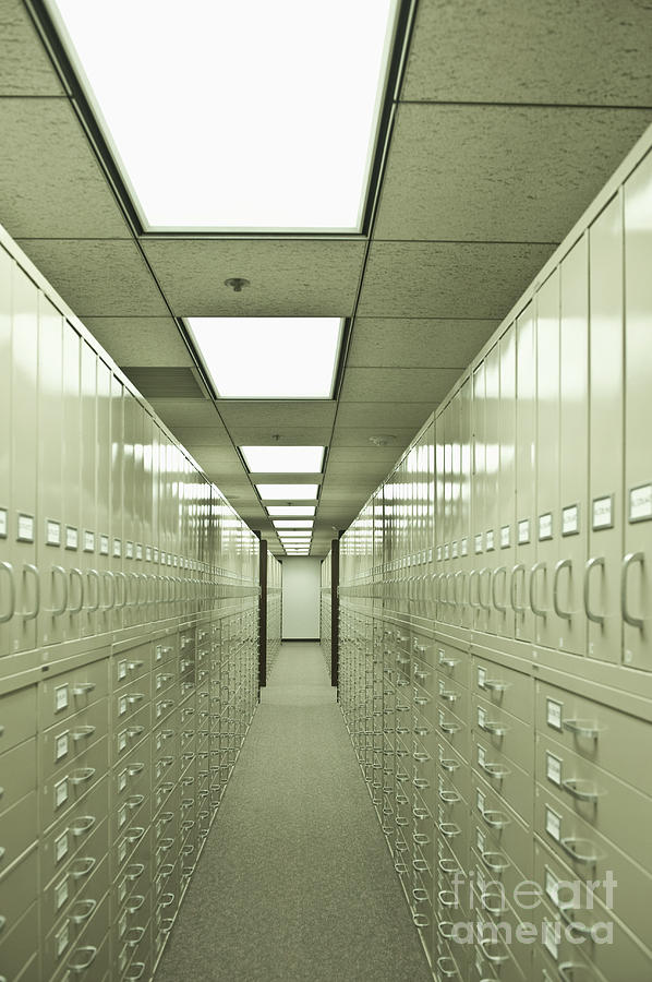 Aisle Photograph   Rows Of Filing Cabinets In A Large Room By Dave U0026 Les  Jacobs