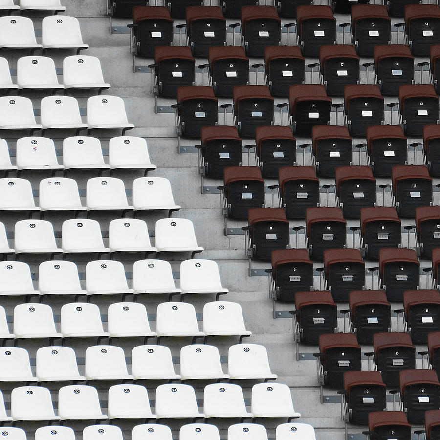 Horizontal Photograph - Rows Of Seats In Different Colors by Befo