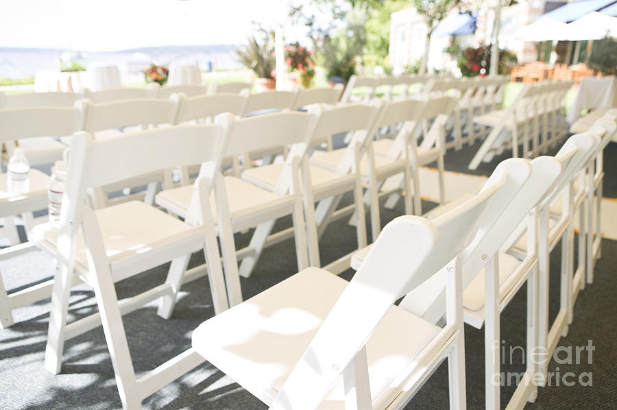Attend Photograph - Rows Of White Folding Chairs by Ned Frisk
