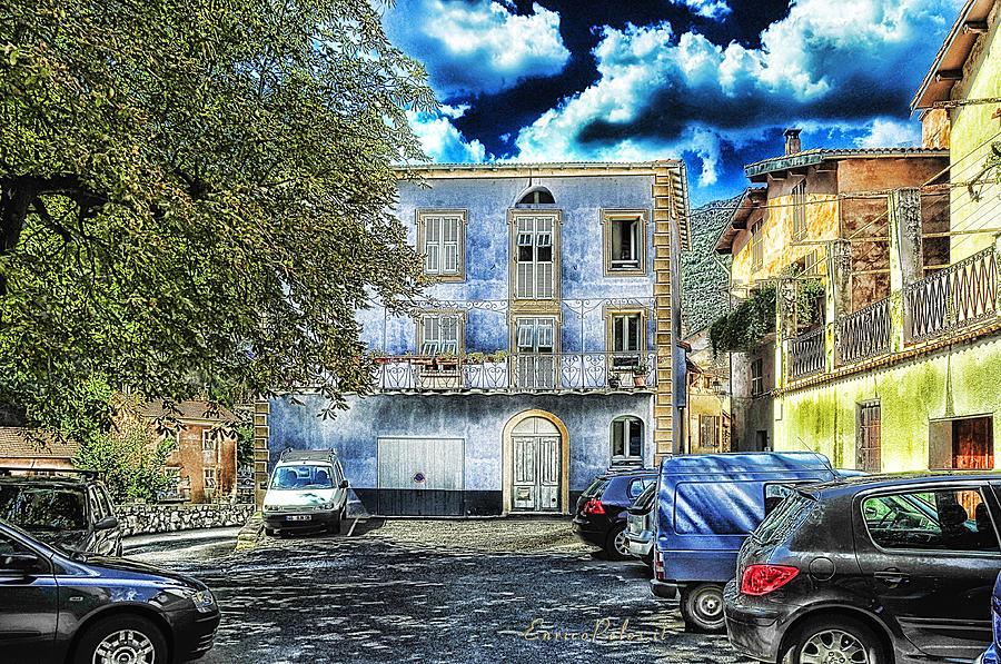 Effects Photograph - Roya Valley Breil Sur Roya The Blue House by Enrico Pelos