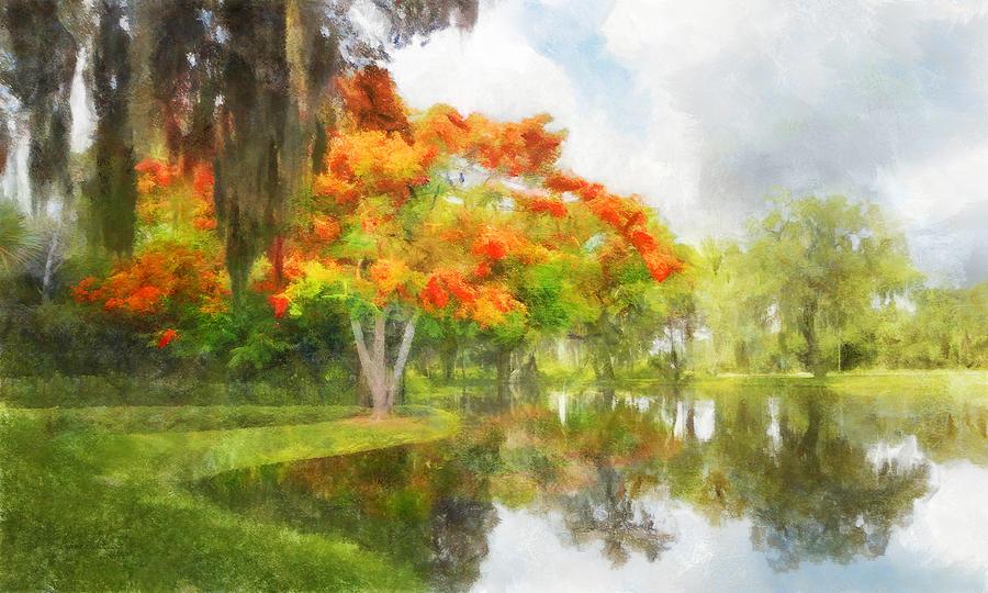 Royal Poinciana Digital Art - Royal Poinciana Lake by Francesa Miller