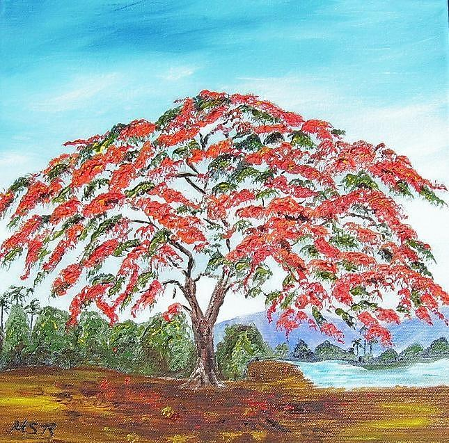 Royal Poinciana Painting - Royal Poinciana Lake by Maria Soto Robbins
